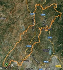 Mapa Ruta BTT a los Montes de Málaga por jotron - subida llanos del medico