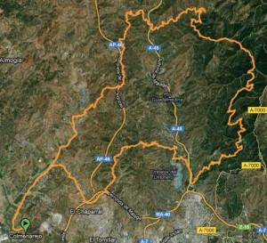Mapa Ruta BTT Montes de Málaga por: Llanos del médico - jotron - Hotel Humaina - Los Locos - Venta del Tunel - Subida a la Ermite de los Verdiales Puerto de la Torre - Colmenarejo