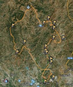 Mapa ruta BTT a santipetri por arroyo cupiana - los moras - subida castilletes - romeria almogia - almogia - Carretera Casasola - cuesta almendor - arroyo de los olivos - subida natera - sierra colmenarejo