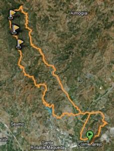 Mapa Ruta BTT a santipetri por los moras - subida mala - Santi pertri - bajada por carril castilletes - presa del tomillar