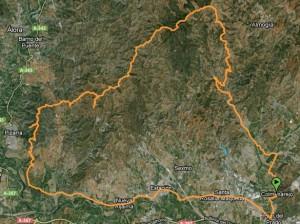 Mapa Ruta BTT al santo de pizarra por Los Moras - pastrana - santipetri - Santo pizarra